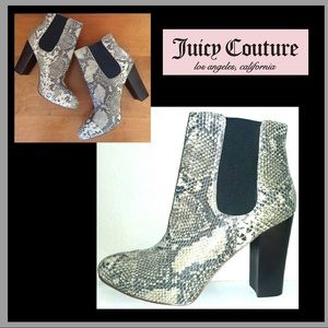Juicy Couture Roxana Snakeskin Leather Boots 10M